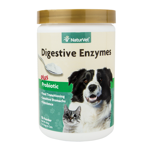 NaturVet Digestive Enzymes Plus Probiotic Powder for Dogs and Cats