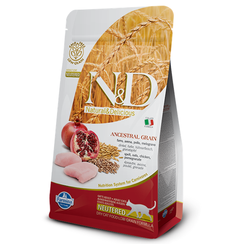 Farmina Natural & Delicious Chicken & Pomegranate Neutured Low Grain Formula Dry Cat Food