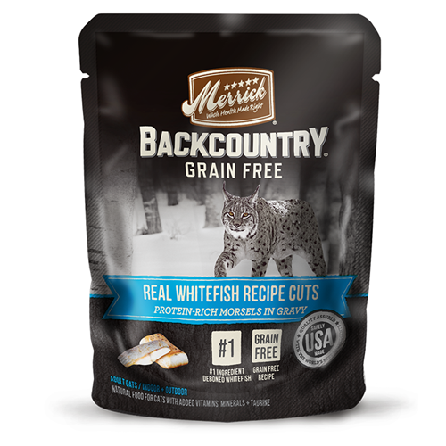 Merrick grain-free Backcountry Real Whitefish Recipe Cuts Wet Cat Food