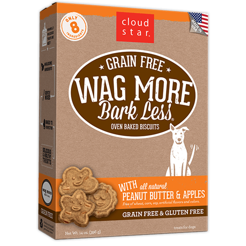 Cloud Star Grain Free Oven Baked Peanut Butter and Apples Dog Treats