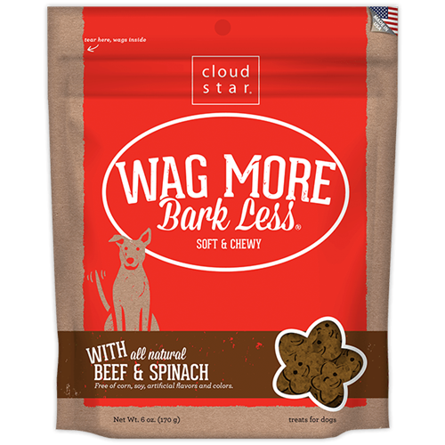 Cloud Star Wag More Bark Less Soft & Chewy Treats - Beef and Spinach