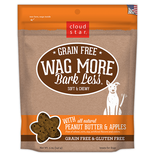 Cloud Star Wag More Bark Less Grain Free Soft & Chewy Treats Peanut Butter & Apple