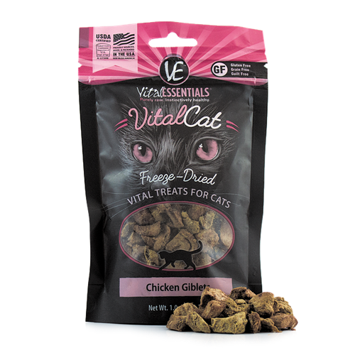 Vital Essentials Freeze Dried Chicken Giblets Treats for Cats