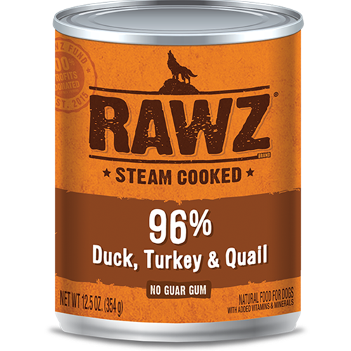 RAWZ 96% Duck, Turkey and Quail Canned Food for Dogs