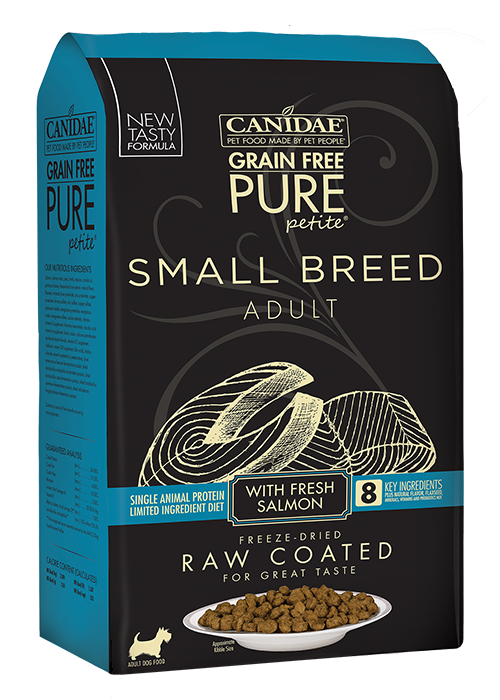 CANIDAE® GRAIN FREE PURE  PETITE® SMALL BREED Dog Food  WITH FRESH SALMON  DRY RAW COATED FORMULA
