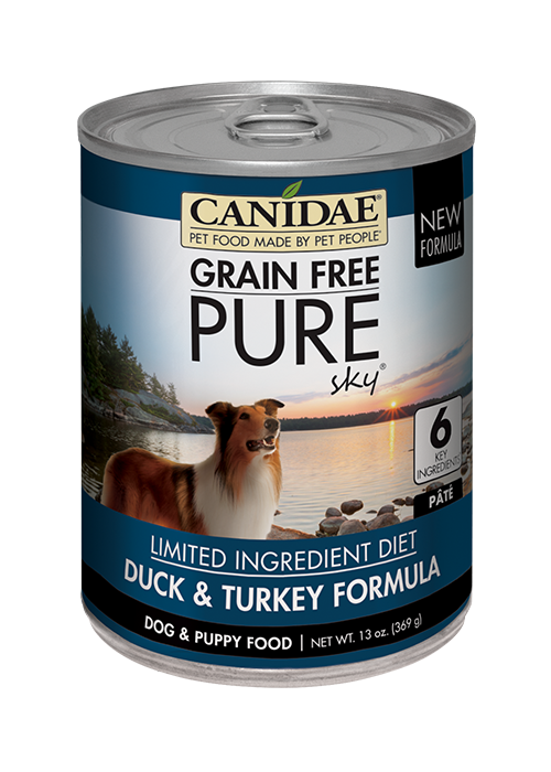 CANIDAE® GRAIN FREE PURE  SKY® WITH DUCK & TURKEY  WET FORMULA SIMMERED IN DUCK BROTH