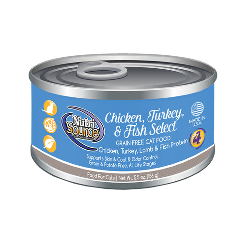 Nutrisource Grain Free Chicken, Turkey & Fish Select Canned Cat Formula