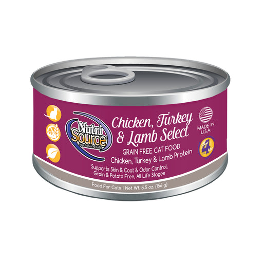 Nutrisource Grain Free Chicken, Turkey & Lamb Select Canned Cat Formula