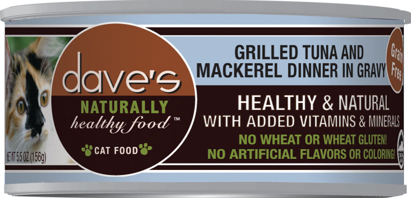Dave's Naturally Healthy Grain Free Cat Food Tuna & Mackerel Dinner In Gravy