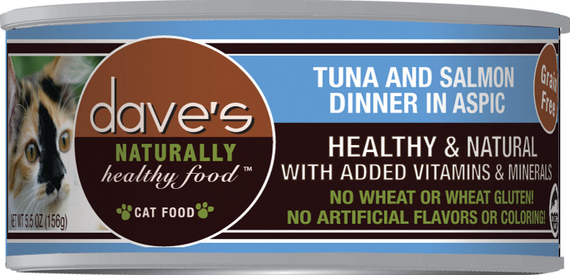 Dave's Naturally Healthy Grain Free Cat Food Tuna & Salmon Dinner in Aspic