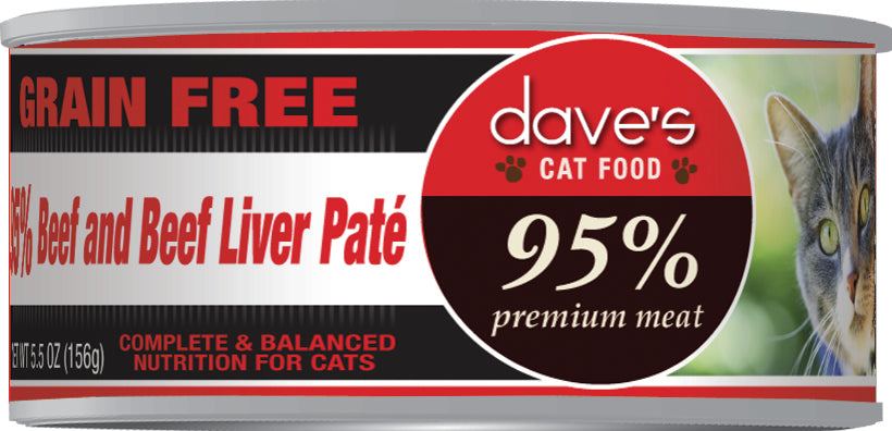 Dave's 95% Premium Meat – Beef & Beef Liver Paté Canned Cat Food