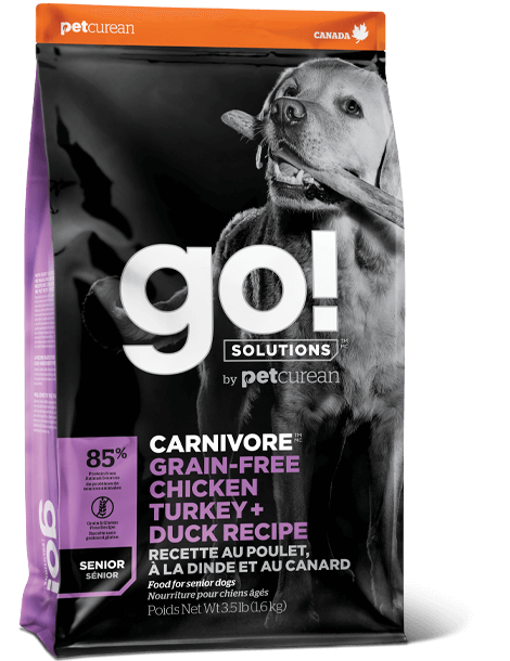 GO! SOLUTIONS CARNIVORE GRAIN FREE CHICKEN, TURKEY + DUCK SENIOR RECIPE