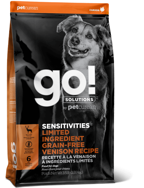 GO! SENSITIVITIES Limited Ingredient Grain FreeVenison recipe for dogs