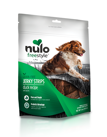 Nulo FreeStyle Dog Jerky Strip Treat Duck with Plum