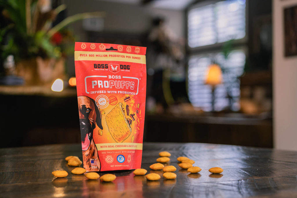 Boss Dog Propuffs Treat for Dogs Real Cheddar & Bacon Flavor