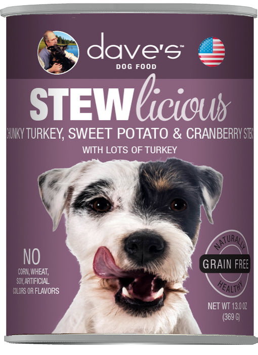 Dave's Stewlicious Chunky Turkey, Sweet Potato & Cranberry Stew Canned Dog Food
