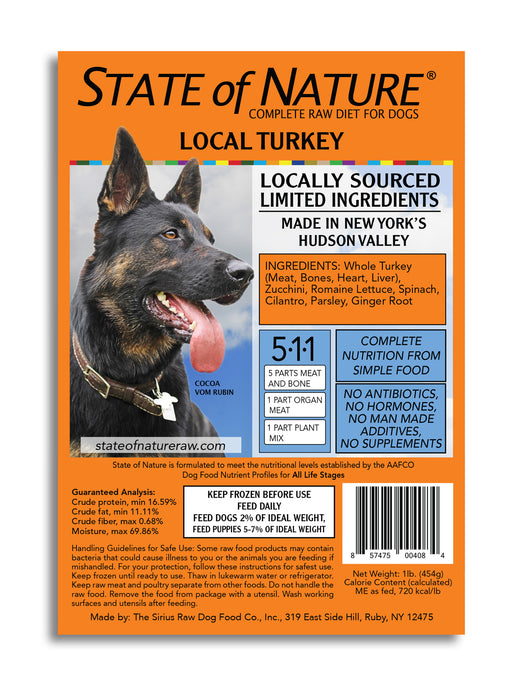 State of Nature Frozen Raw Turkey for Dogs