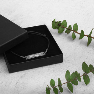 Strength Engraved Silver Bar String Bracelet