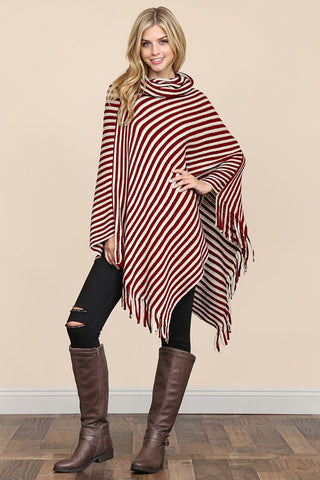 JOY STRIPED PONCHO