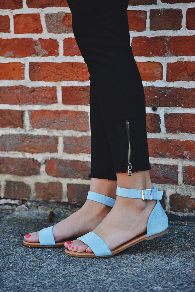 BABY BLUE SUEDE SANDALS