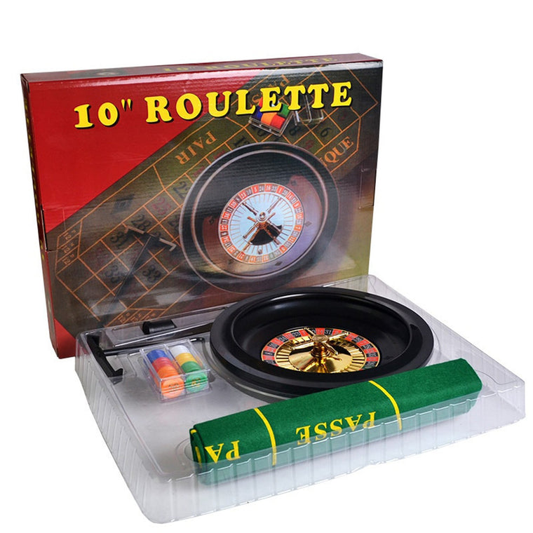 10'' Roulette Poker Chips Set Roulette & 60pcs Small Poker Chips & Table Cloth & Chips Collecting Rake Fun Leisure Borad Games