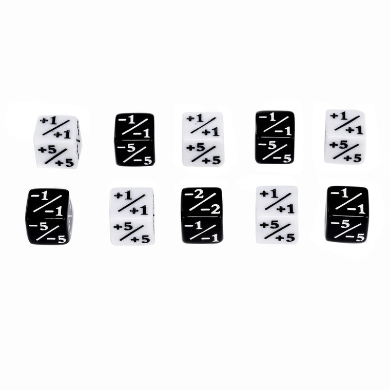 10x Dice Counters 5 Positive +1/+1 & 5 Negative -1/-1 For Magic The Gathering Table Game Funny Dices High Quality