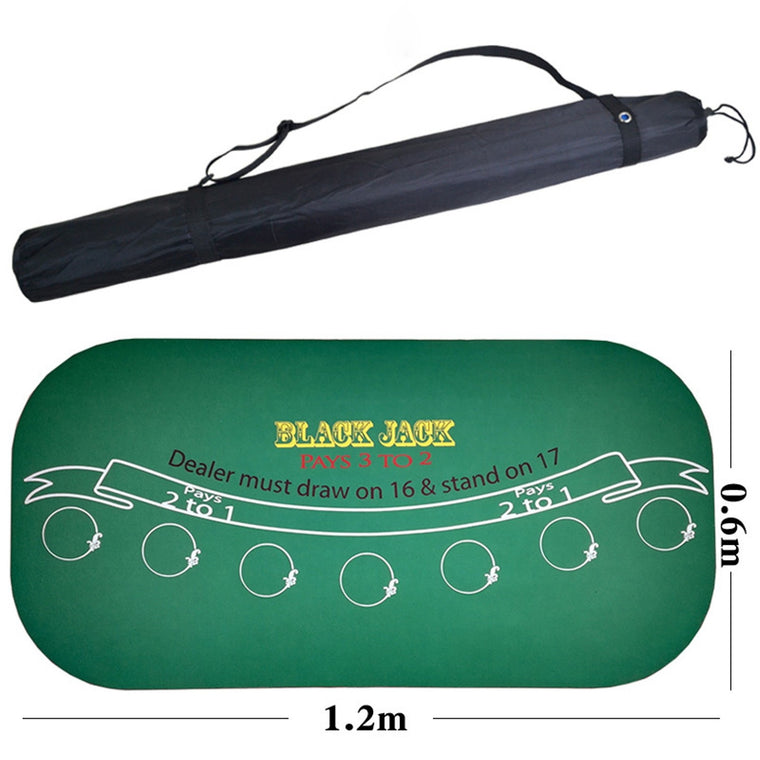 120*60Cm Suede Rubber Black Jack 21Points Baccarat Casino Poker Tablecloth Green Table Mat Board Cloth High Quality