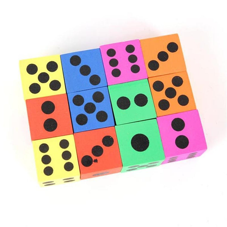12pcs Children Big Foam Playing Dice (Random Color)