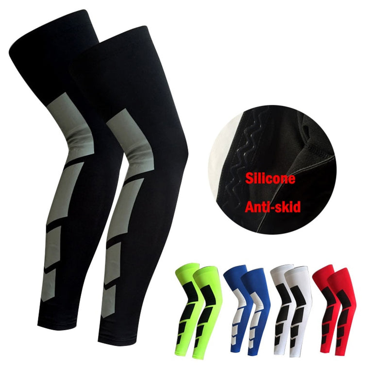 297a18b642924e 1PCS Pro Sports Silicone Antiskid Long Knee Legwarmers Support Compression  Brace Pad Protector Sport Basketball Leg