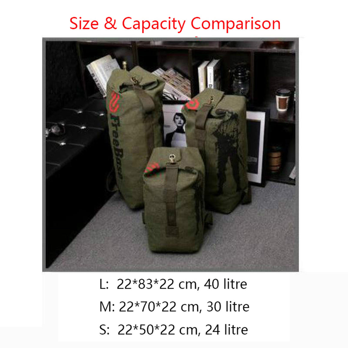 24/33/40L 3-size Sturdy Canvas Tactical Backpack Rucksacks Military Army Bag Men Women Outdoor Travel Hiking Camping Bag HAB016