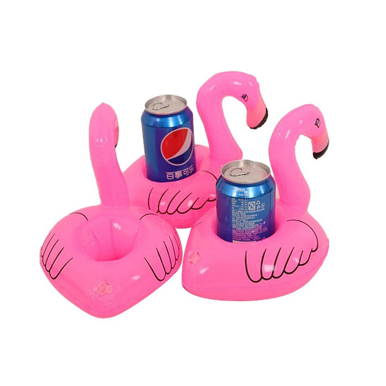 3Pcs/Set Party or Pool Decoration Kids Toy Mini Flamingo Floating Inflatable Coasters Drink or Cups Holder Stand Air Cushion