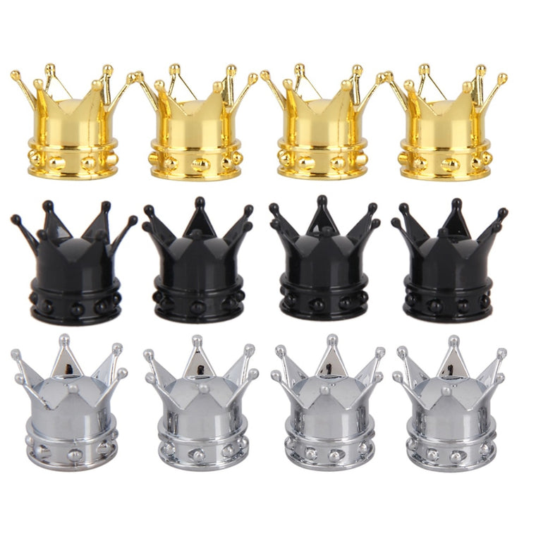 4Pcs /Set Crown Bicycle Tyre Wheel Stem Air Valve Caps Tire Valve Auto Truck Bike Car Tyre Tire Bike Cycling presta Accessories