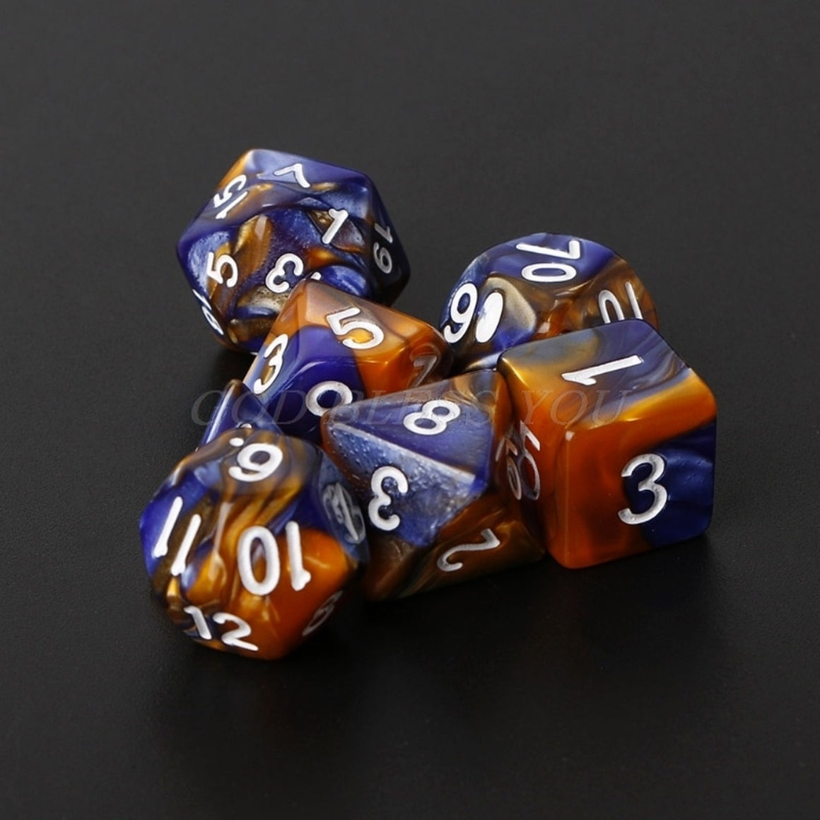 7pcs/Set Acrylic Polyhedral Dice For TRPG Board Game Dungeons And Dragons D4-D20 Drop Ship