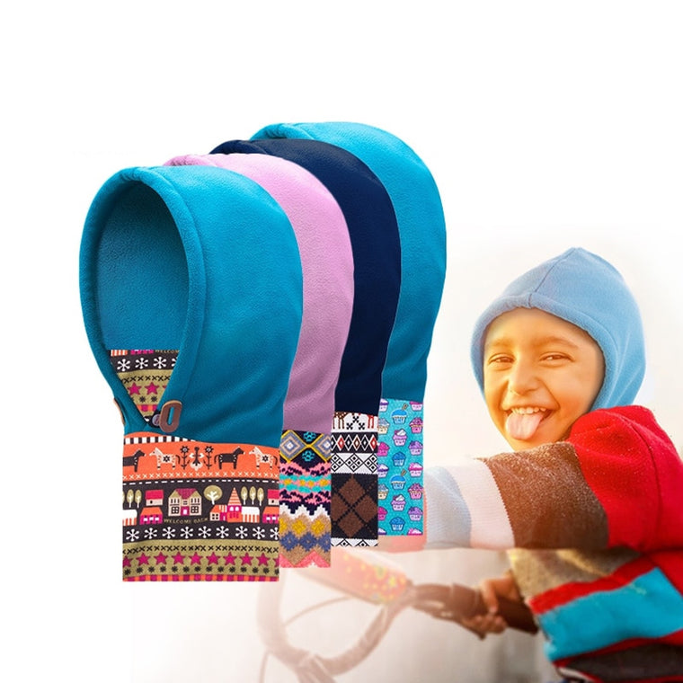 AONIJIE Children Winter Hiking Caps Polar fleece Ski head Mask Cap Warm Scarf Hood Cover Cycling Hat for 3-12 years old children