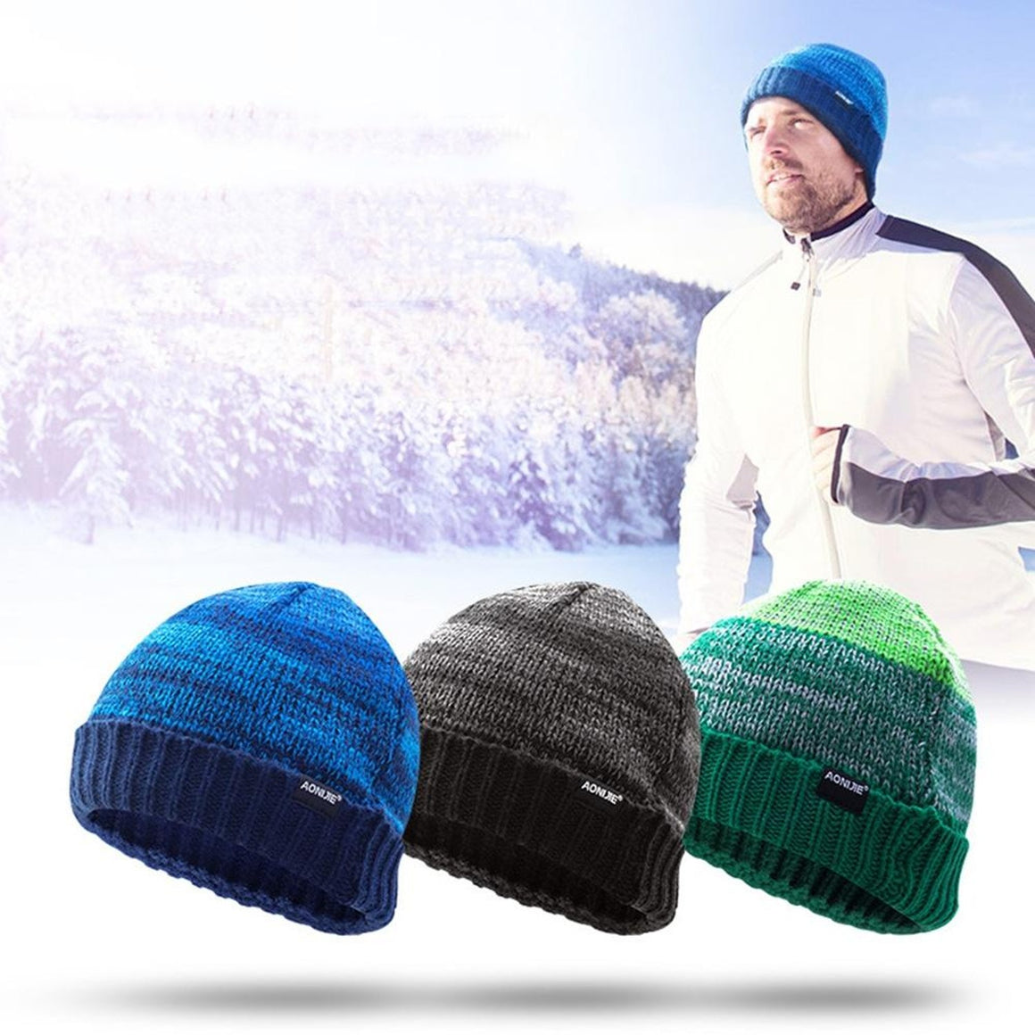 AONIJIE Men Women Keep Warming Knitting Sports Winter hiking hat Comfortable Riding Snowboard Hat Running Hiking Cap