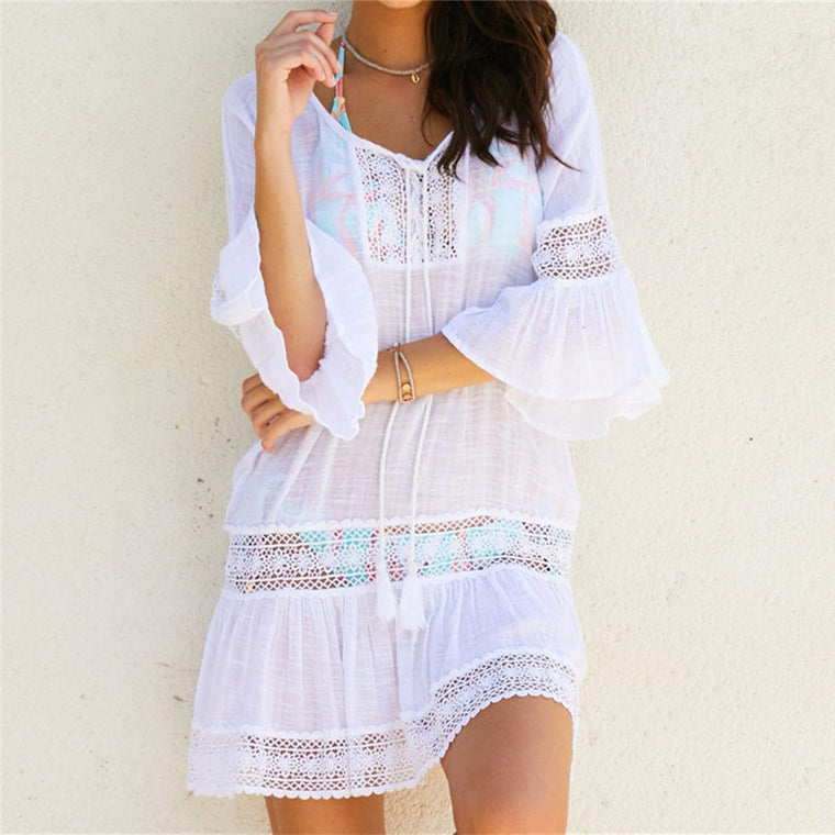 f4220d756f Bamboo Cotton Summer Pareo Beach Cover Up Sexy Swimwear Women Swimsuit  Cover Up Kaftan Beach Dress