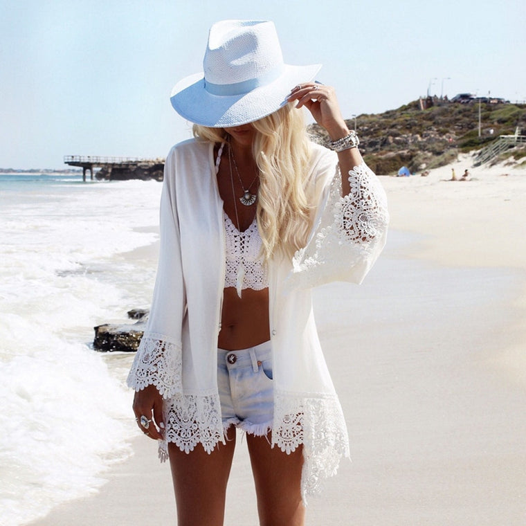 Beach Chiffon Laces Cover Ups Coat Blouse Saida De Praia Sexy Top Slim Loose White Cardigan Dress Bathing Suit Bikini Cover Ups