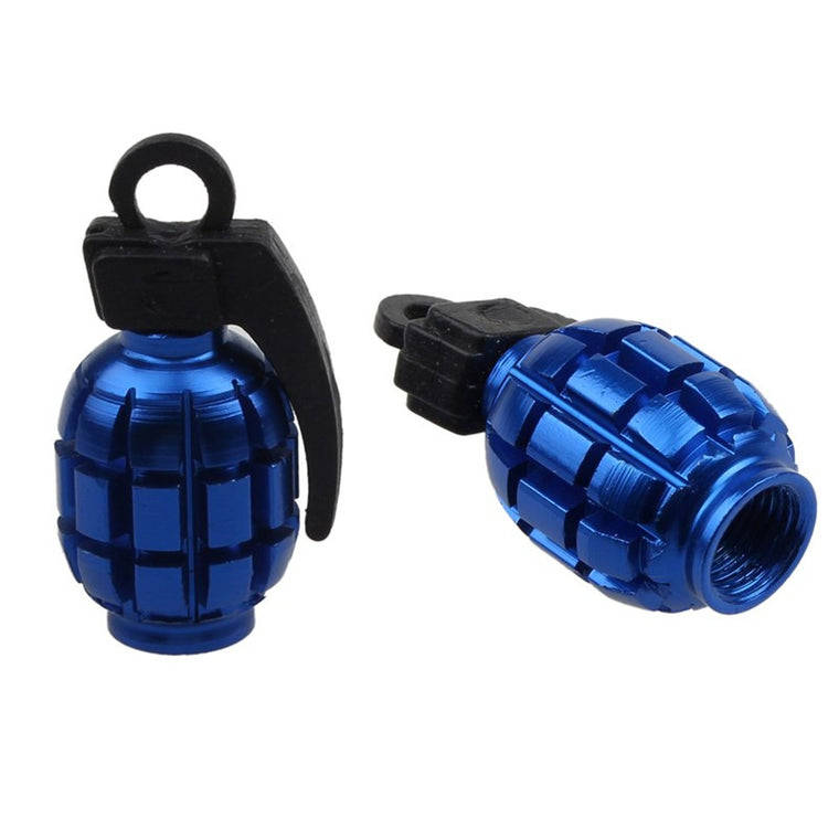 Bicycle Accessories For a Bike 2PCS Colorful Grenade Alloy Valve Caps Dust Covers Bike Bicycle MTB BMX Car Tyre