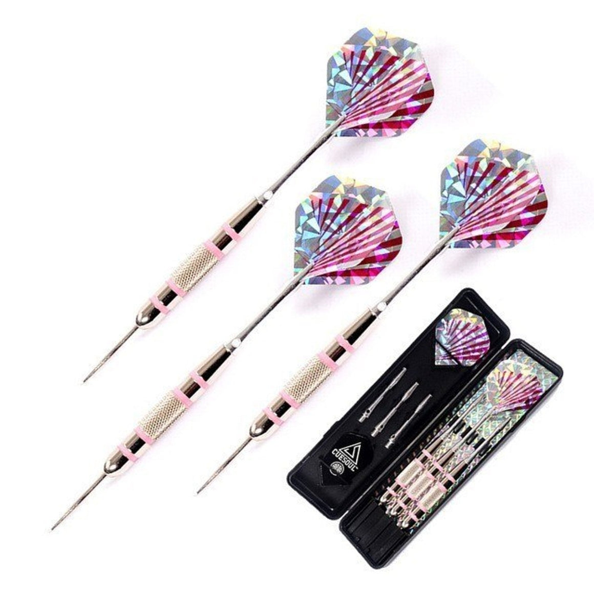 CUESOUL 24g 16cm Needle Steel Tip Darts With Aluminum Dart Shaft And Pink Dardos Flights For Indoor Professional Dartboard Games