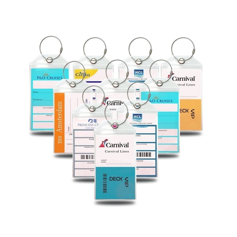 Cruise Tags Luggage Etag Holders for Princess, Carnival, Costa, Holland America, P&O, Norwegian Cruise ships