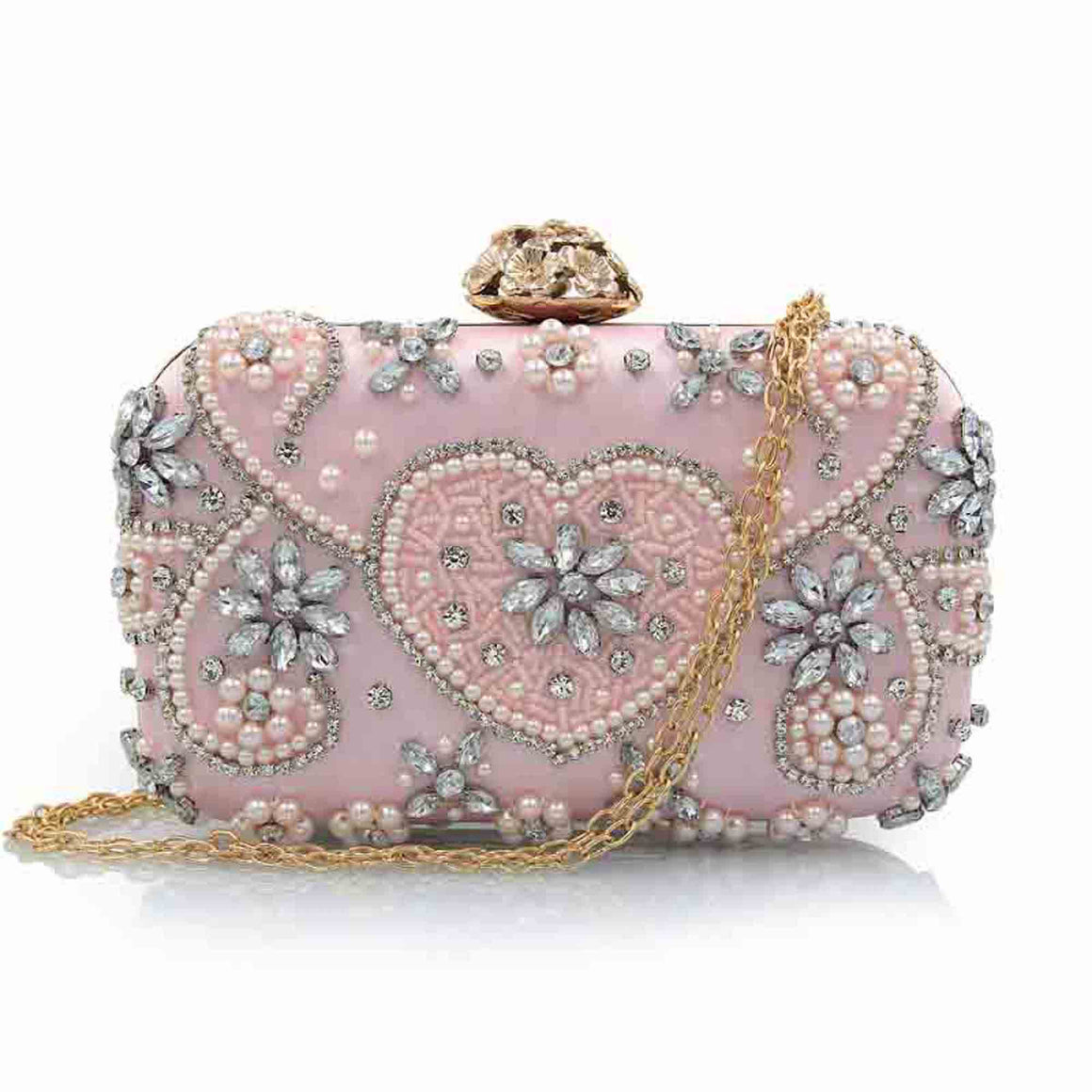 Design Evening Bag Handmade Emerald Gold Pink Heart Crystal Luxury Clutch Bag Diamond Ladies Handbags Party Wedding Purse