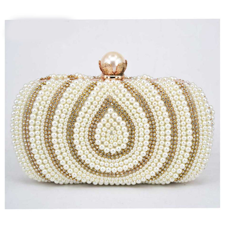 5117021d20 Fashion Gold White Pearl Women Party Evening Bag Chain Beaded Prom Clutch  Bag Lady Bridal Wedding