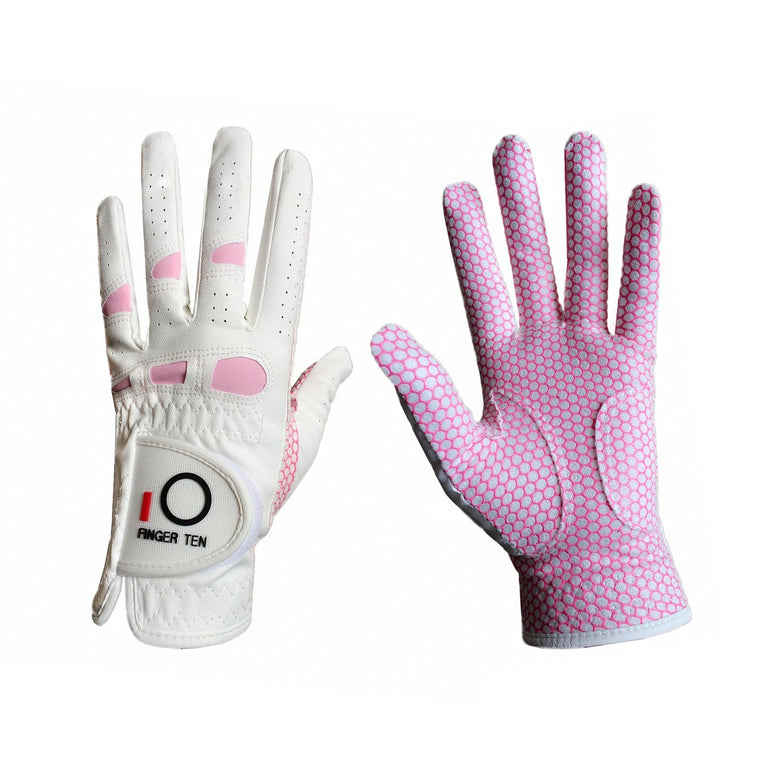 Finger Ten Women's Golf Gloves Ladies Right-handed Lh Rh Golfer Rain Grip Fit Size Small Medium Large XL All Weather Golf Gloves