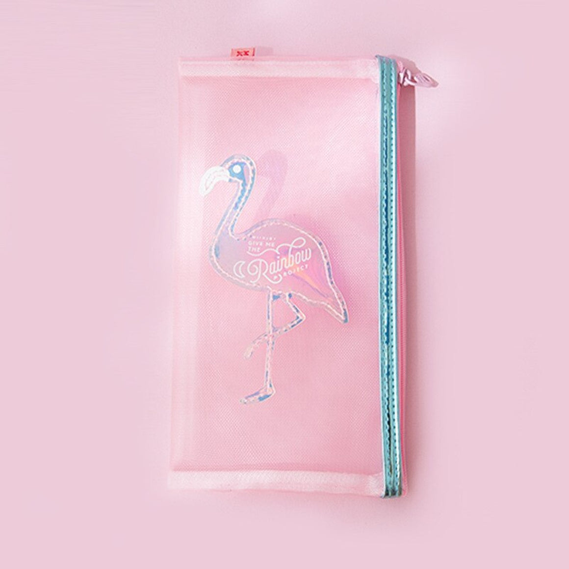 Flamingo Pink Mesh Makeup Pouch Women Zipper Cosmetic Case Pencil Bags Hologram Shell Storage Bag Mini Wash Organizer Pouch