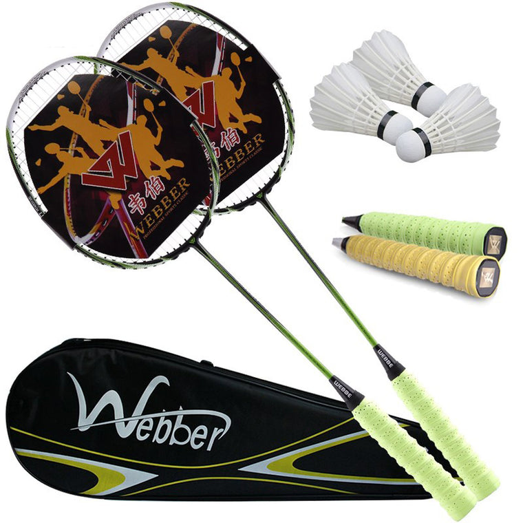 Genuine 2 pack single shot double pieces of ultra light carbon badminton racket and 3 badminton and 1 bag