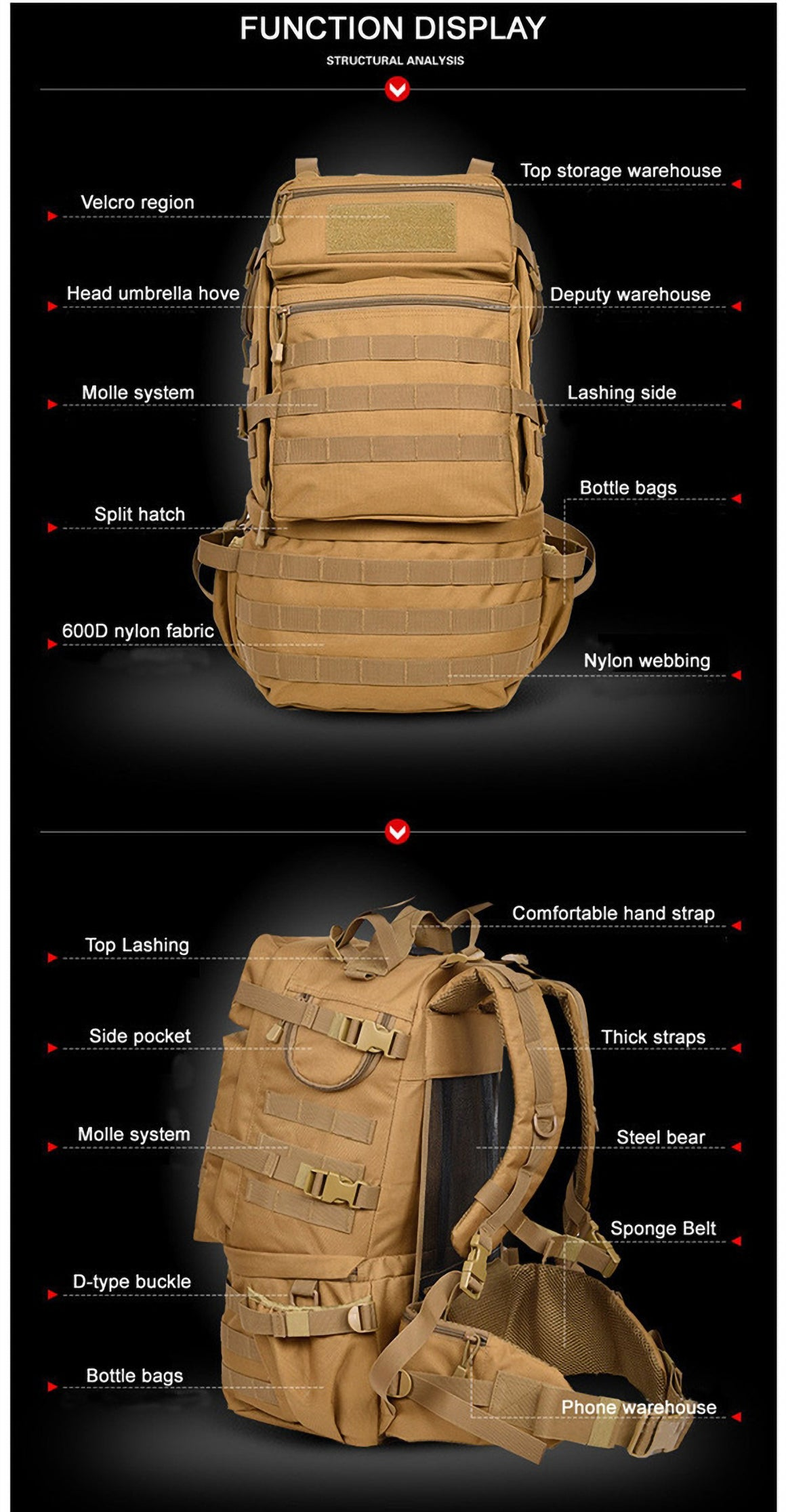 Outdoor Military Army 50L Tactical Backpack Camping Trekking Bag Large-capacity Hiking Rucksack Travel Backpack Men Bag