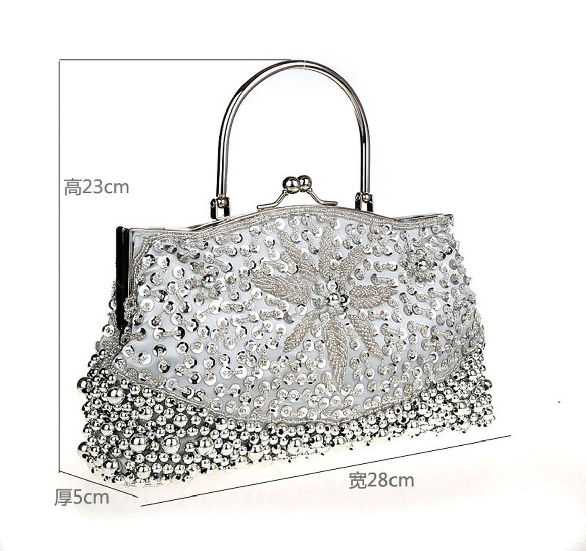 Fashion Black Ladies' Beading Beaded Banquet Handbag Clutch Party Bridal Evening Bag with Shoulder Chain Purse MakeupBag 78189-G