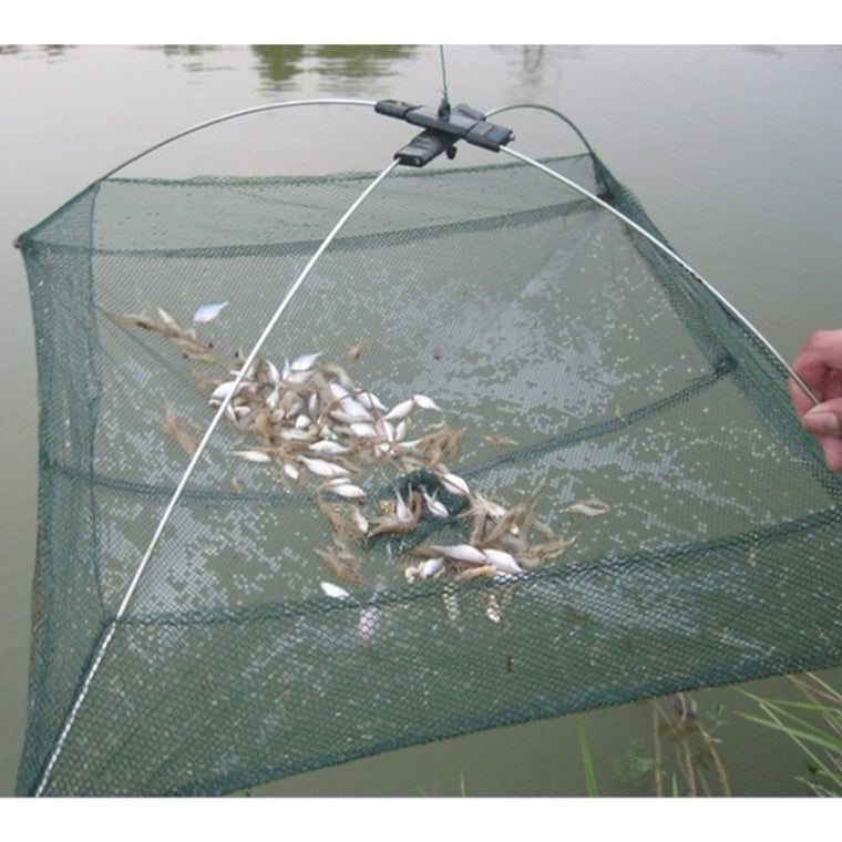 Hot New Outdoor Fishing Tools 60*60CM Folding Fishing Net Nylon Shrimp Folding Bait Net Fishing Cage Fishnet Rede De Pesca