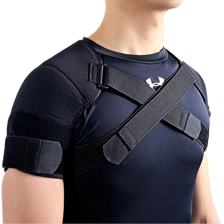 Kuangmi 7K-foam Double Shoulder Brace Adjustable Sports Shoulder Support Belt Back Pain Relief Double Bandage Cross Compression