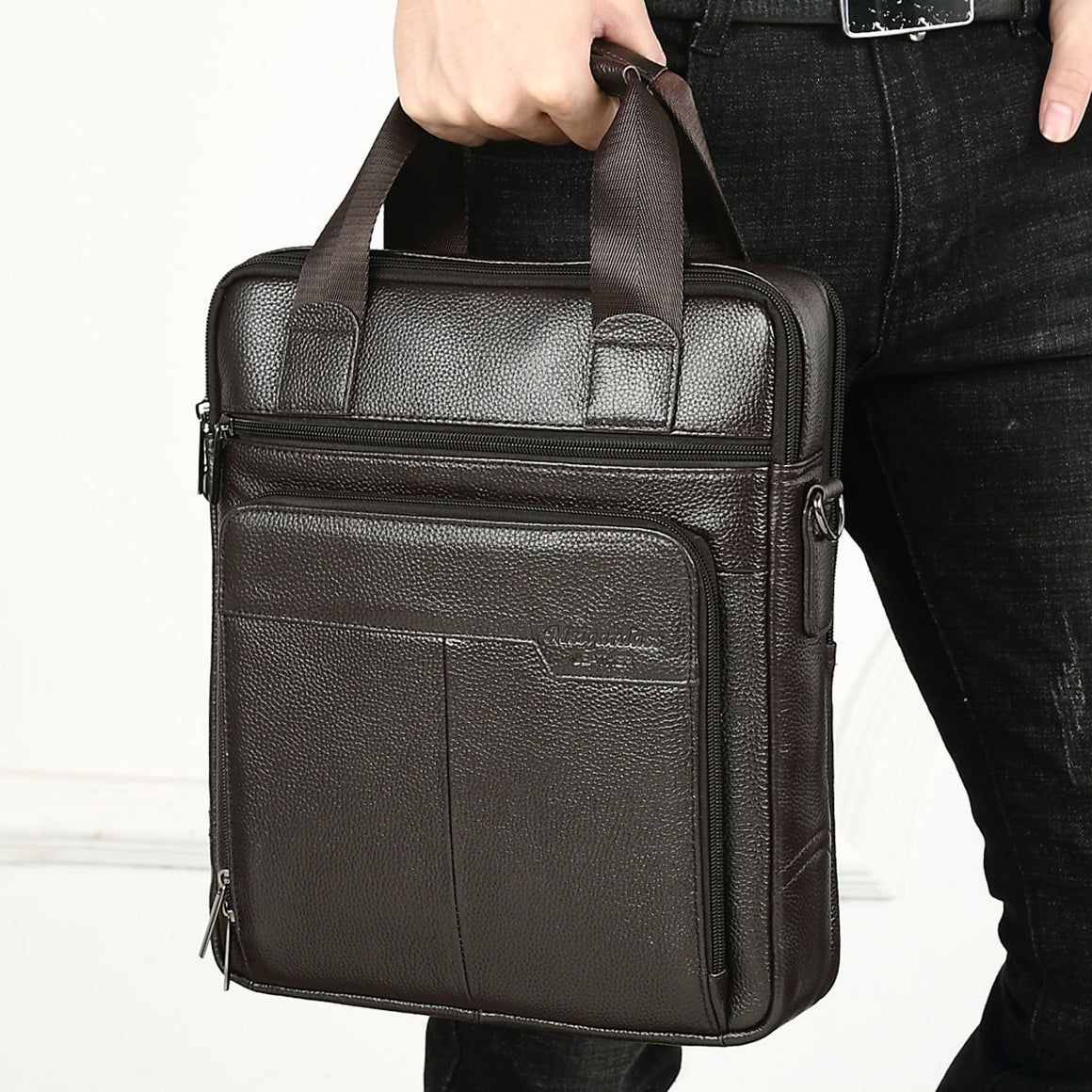 MEIGARDASS Genuine Leather Business Men Briefcase Men's Handbags Office Laptop Bag Male Casual Shoulder Computer Messenger Bags